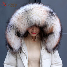 Bufanda de invierno con Cuello de piel de mapache Gaux para mujer, chaquetas de invierno, capucha, decoración de piel, chal Multicolor, abrigo para hombre