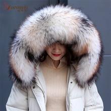 ホットな新到着アライグマ Gaux 毛皮の襟の冬女性の冬のジャケットフード毛皮の装飾多色ショールメンズコート。
