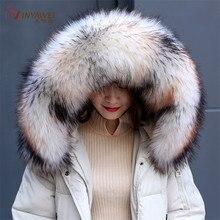 Hot New Arrival Raccoon Gaux futro kołnierz zimowy szalik dla kobiet zimowe kurtki kaptur dekoracja z furtra Multicolor szal męski płaszcz.