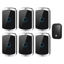 CACAZI Self-powered Waterproof Wireless Doorbell with No Battery US EU UK Plug 1 Button 6 Receiver 60 Chime Smart Home Doorbell cacazi self powered wireless doorbell no battery us eu uk au plug 2 button 5 receiver smart home chime doorbell ring bell 220v