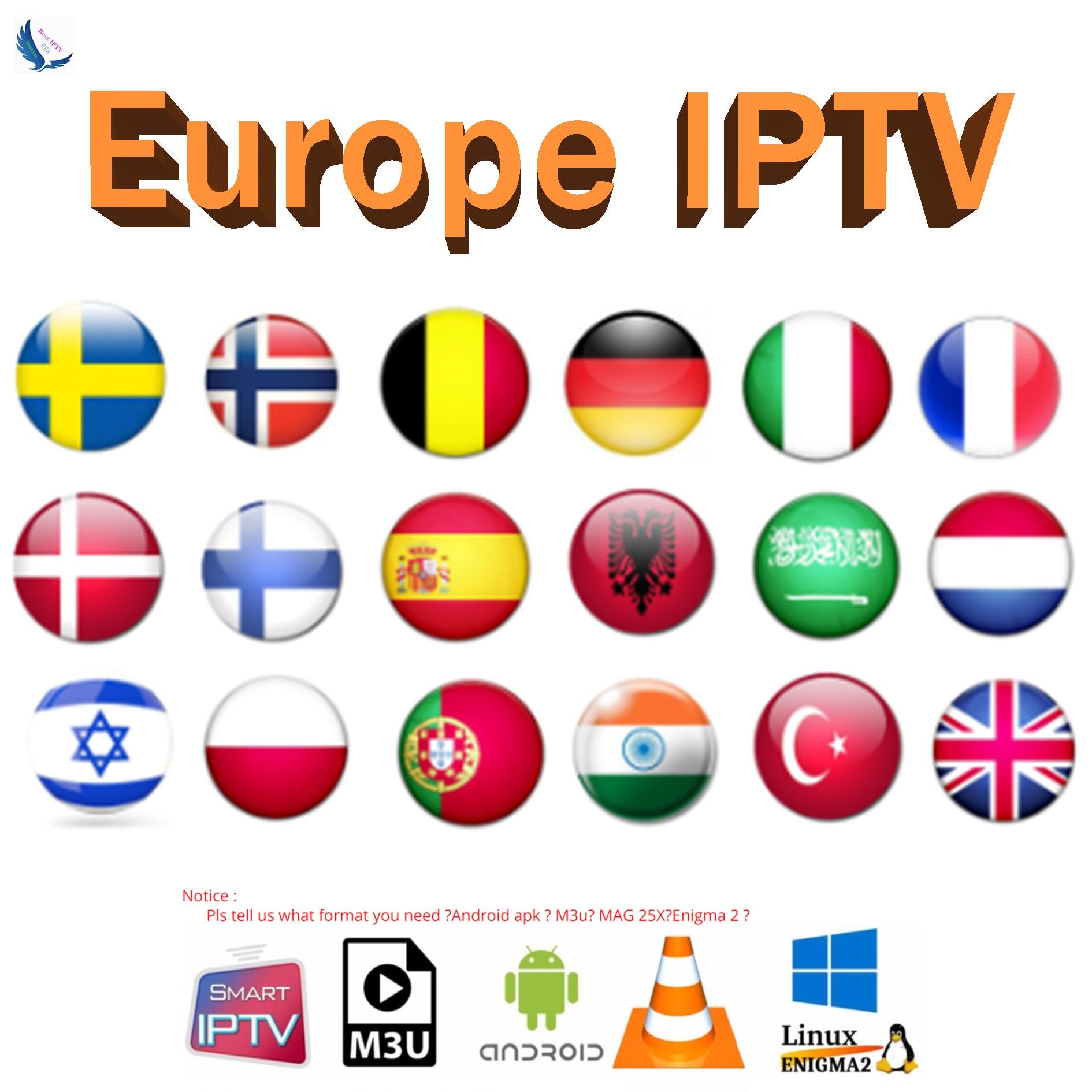 World IPTV Europe Iptv Subscription Europe Iptv Portugal Spain France Italy USA Dutch Iptv M3u For Smart TV Android Box X96 Mini