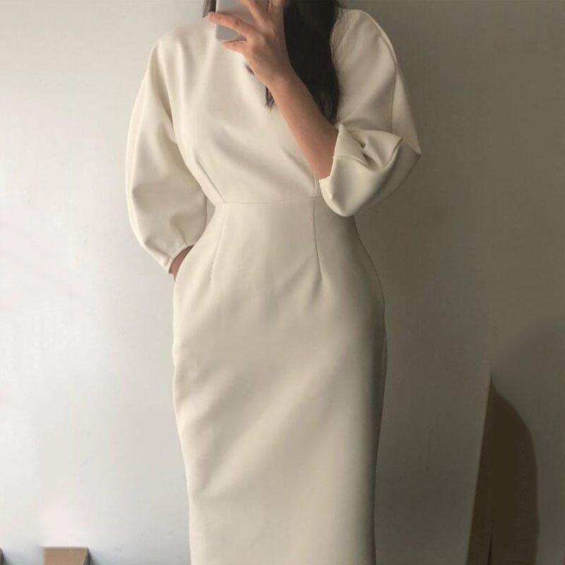 Sister Fara New Spring Elegant O-Neck Dress Ladies Office Fashion Sexy Solid Dress Women Autumn Slim Midi Dress Vestidos OL 2021 8