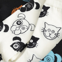Cartoon Women Socks Cat Dag Cotton Female Unisex Stocking Korean Style Midi Sock Woman Funny Autumn