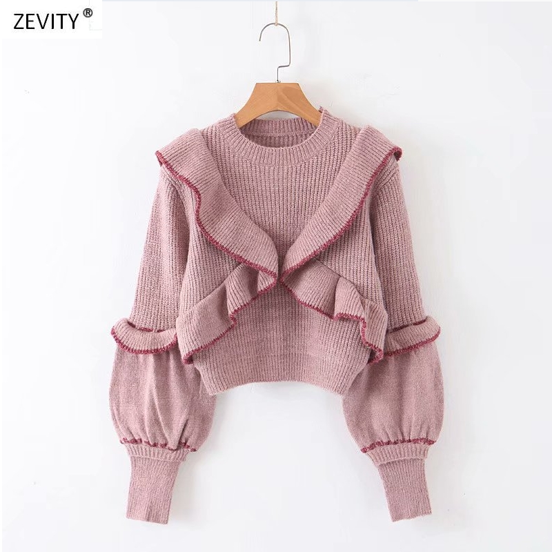 2019 New Spring Women Sweet Ruffles Decorate Short Sweater Ladies Basic Knitted Pullovers Casual Slim Chic Sweaters Tops S155