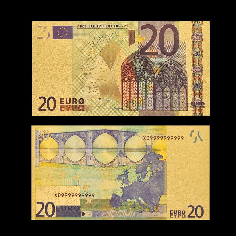 Réplica de billetes de Euro 20, billetes de papel dorado