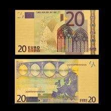 Réplica notas de euro 20 papel dinheiro folha de ouro nota de notas