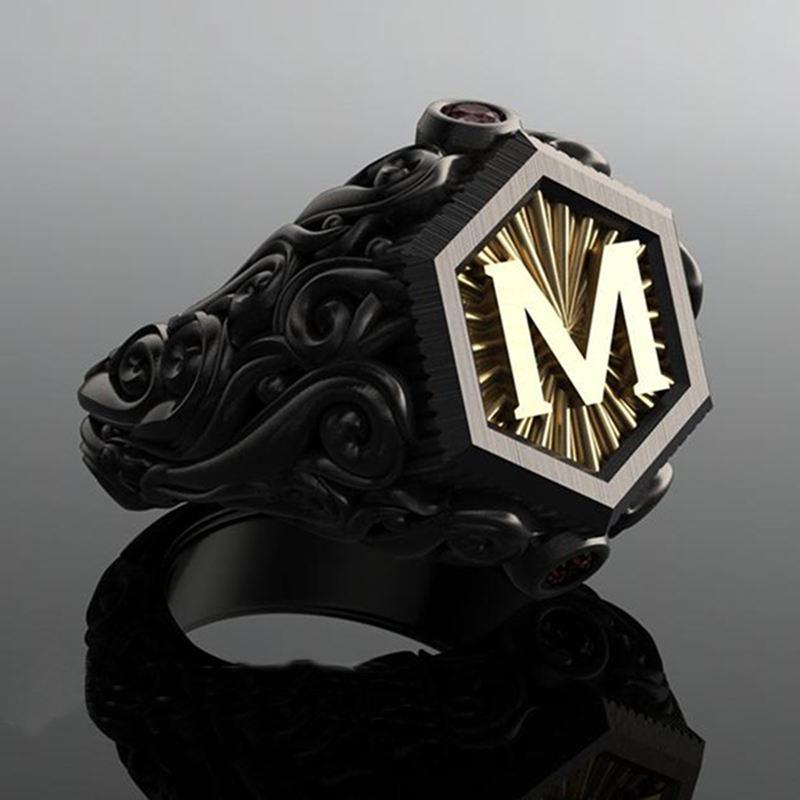 טבעת אות M בעיצוב בוהמי יחיד במינו
