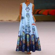 Kadın yaz elbisesi 2020 baskı seksi elbise rahat Vintage gevşek kolsuz Sundress uzun Maxi elbise artı boyutu tankı Vestidos