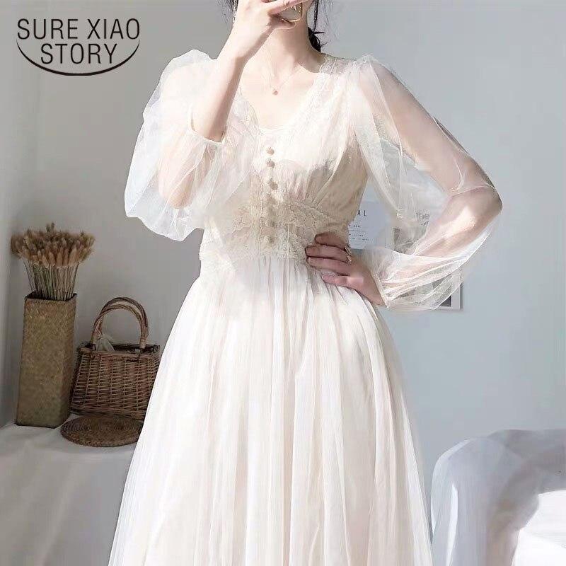 Kleid Frauen 2021 Frühling Plus Größe Kleid Elegante A-Line Vestidos Solide Puff Hülse Reich V-ausschnitt Damen Spitze Kleid Mesh 8126 50