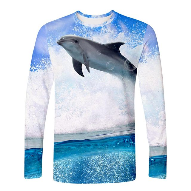 Harajuku Fashion 3D Dolphin Long Sleeve T Shirt Men women Streetwear 3D Tee Top Pullovers Hip Hop Kawaii Harajuku Loose T Shirts