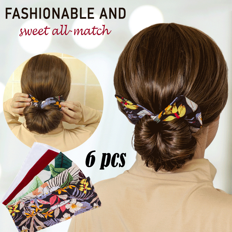 Deft Bun Fashion Hair Bands Women Summer Knotted Wire Headband Print Hairpin Braider Maker Easy To Use DIY Accessories