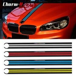 Car Styling 5D Carbon Fiber Car Hood Bonnet Sticker Decals M Performance Decor For BMW e90 e46 e39 e60 f30 f10 f15 f16 X5 x6 X3