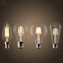 Светодиодный ламп накаливания E27 Ретро Эдисон лампы 220V E14 Винтаж C35 Свеча светильник с регулируемой яркостью, G95 Глобус ампулы светильник ing COB домашний декор