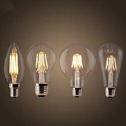 LED Filament Ampoule E27 rétro Edison lampe 220V E14 Vintage C35 bougie lumière Dimmable G95 Globe Ampoule éclairage COB décor à la maison