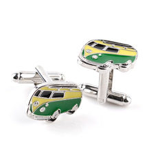 10pairs/lot Wholesale Cars Cufflinks Novelty Design Green Bus Shape Enamel Shirt Cuff Links  For Women Men Jewelry Accessories