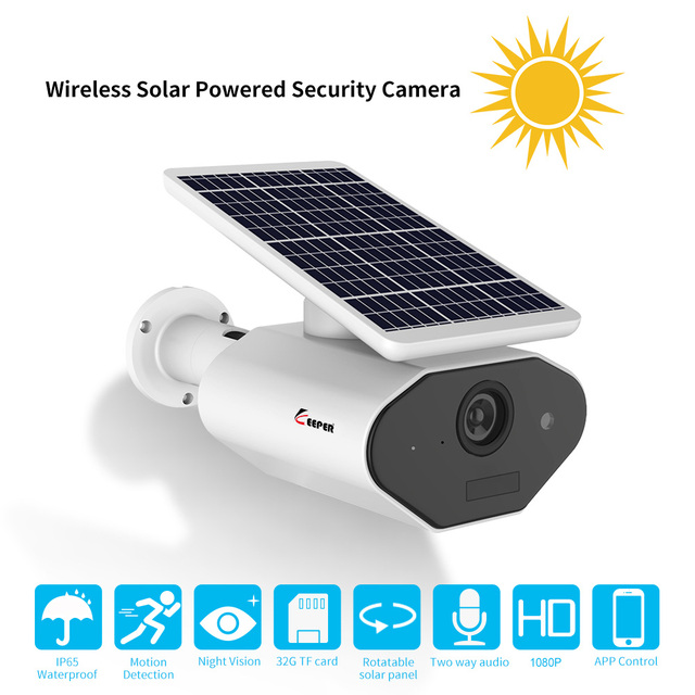 Keeper 1080P IP65 Waterproof Outdoor Solar Powered Security Camera Low Power Rechargeable Battery Wire Free Solar WiFi Cameras