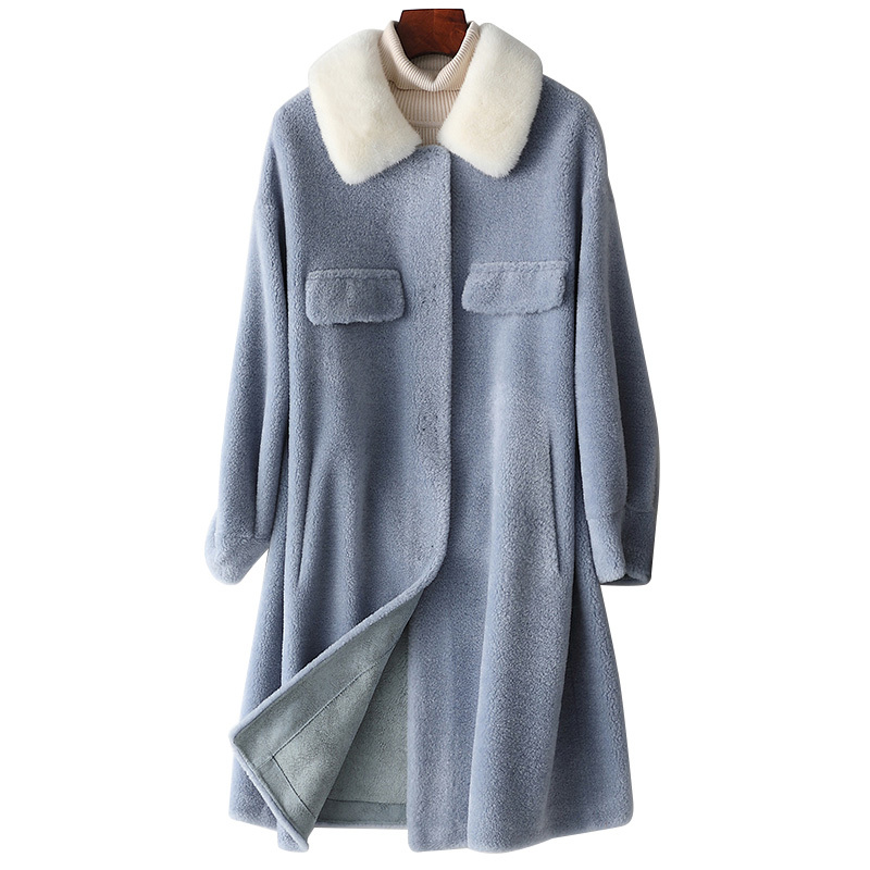Real Fur Coat Mink Fur Collar 100% Wool Jacket Autumn Winter Coat Women Clothes 2020 Korean Sheep Shearling Suede Lining ZT3900