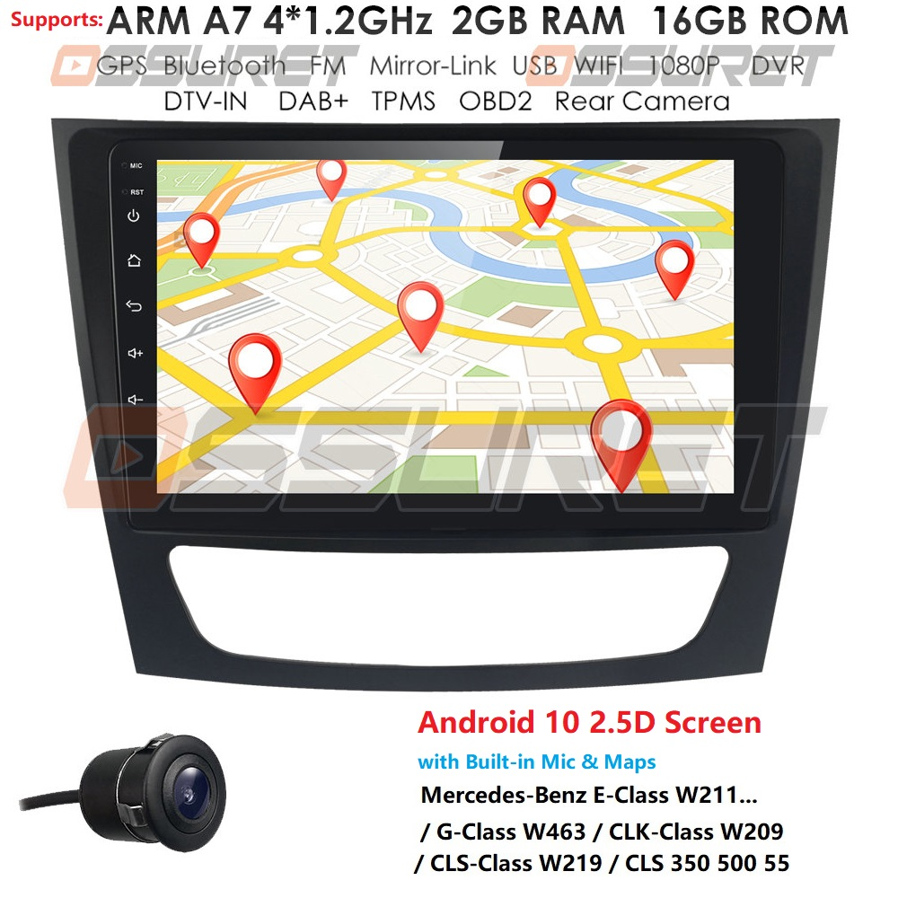 2.5D Screen Android 10 Car Multimedia Player for <font><b>Mercedes</b></font>/Benz W209 W463 W219 <font><b>W211</b></font> Stereo Radio head Unit 4GWIFI BT TPMS DAB DTV image