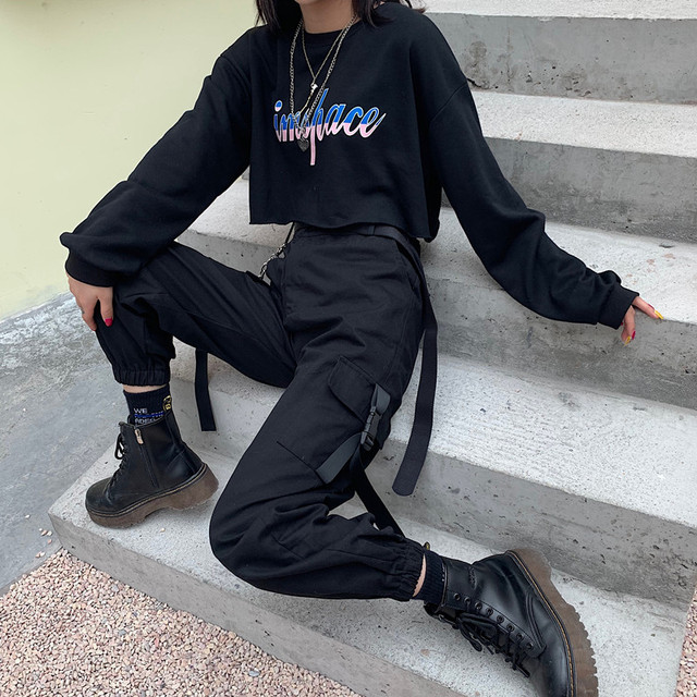 YBYR Big Pockets Cargo Pants Women Elastic High Waist Loose Streetwear Summer Pant Baggy Tactical Trouser Hip Hop Joggers Pants 3