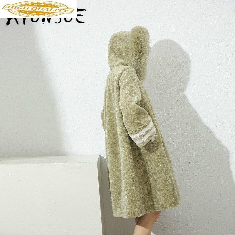 Autumn Winter Coat Women Clothes 2019 Sheep Shearing Real Fur Coat 100% Wool Jacket Women Fox Fur Collar Fur Tops 19052 YY2100