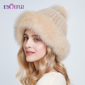 Image 2 - ENJOYFUR Doğal vizon kürk şapkalar kadınlar kış kalın sıcak tilki kürk kapaklar ponpon ile moda rus tarzı kasketleri