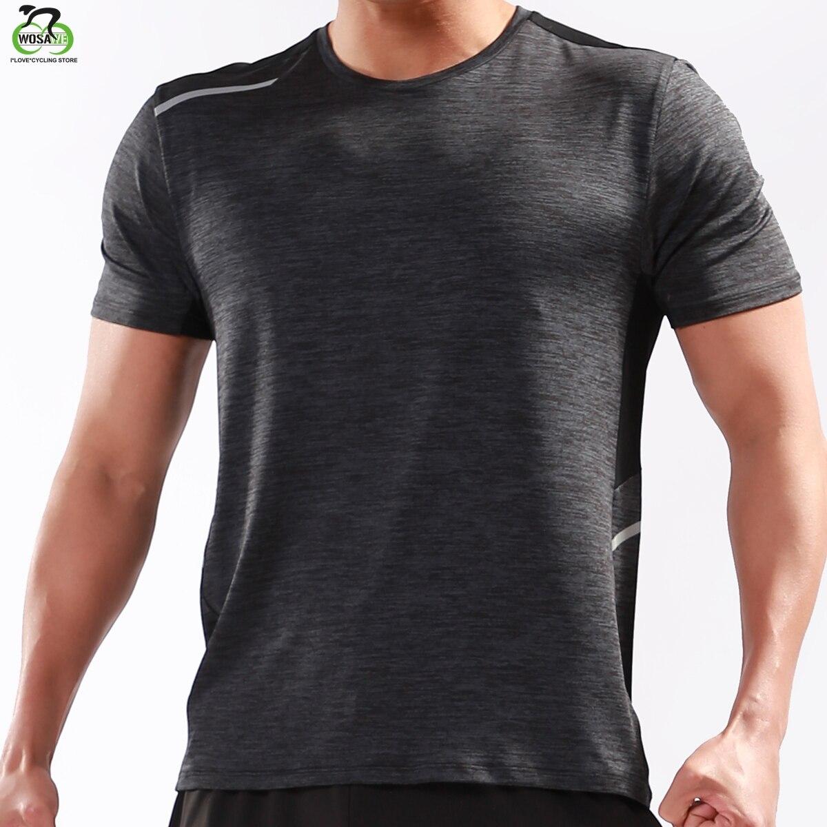 WOSAWE Running Shirt Men Sports Running Shirt Quick Dry Basketball Soccer Training T Shirt Men Gym Clothing Sportswear