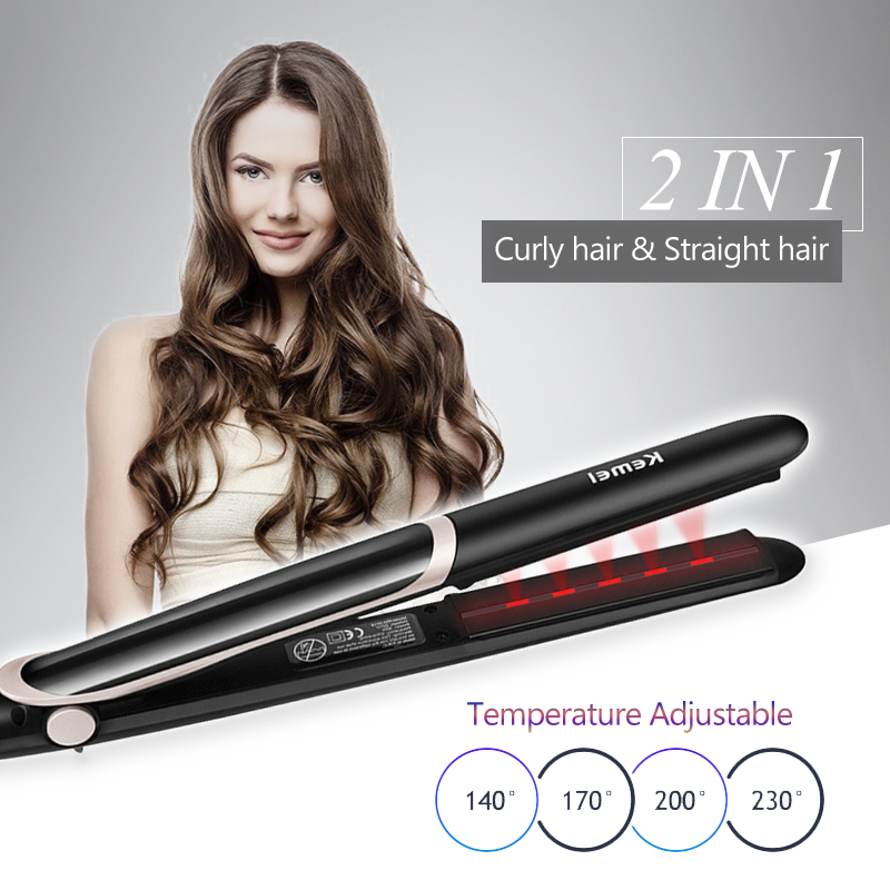 Professional Hair Straightener Electric Hair Curler Flat Iron Negative Ion Hair Straighting Curling Iron With LED Display 40D