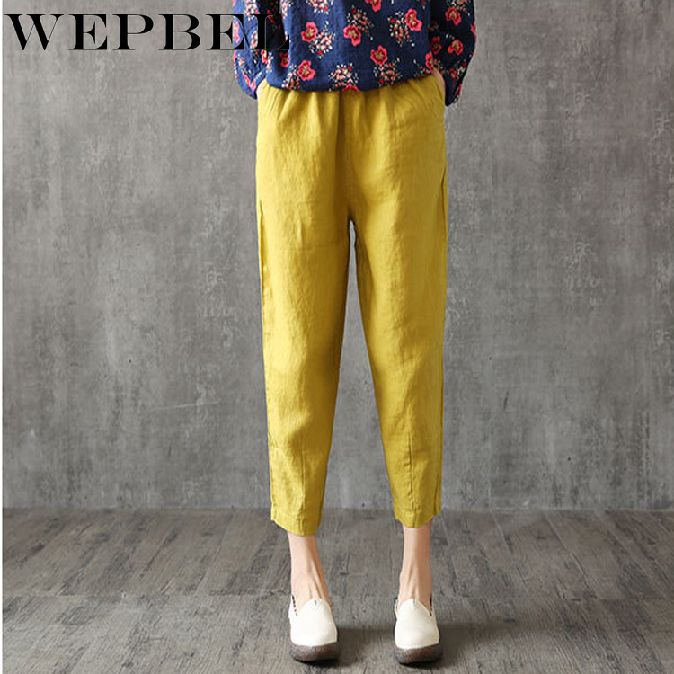 WEPBEL Women Linen   Pants   Plus Size   Pant     Capris   Loose Thin Fabric Linen Cotton   Pant   Solid Color Harem   Pants   Women