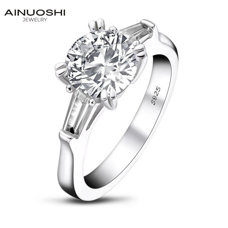 AINOUSHI classique 925 solide en argent Sterling 2 carats taille ronde 3 bague en pierre pour les femmes de mariage bague de fiançailles