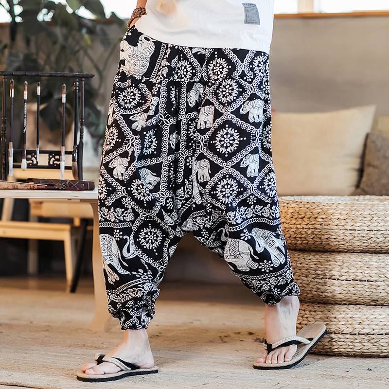MEN'S WEAR 2019 Autumn Nepal Men's Trousers Flax Flower Pants Men Loose-Fit Saggy Pants