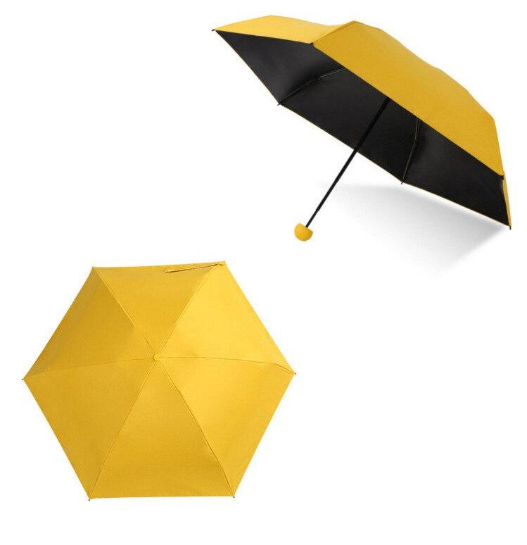 Мини-капсула зонтик пятискладной солнцезащитный анти-УФ UPF50+ Зонт parapluie складной женский Карманный Зонт для женщин - Цвет: Yellow