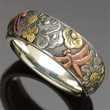 Retro Silver Color Carved Ring for Women Flower Dragonfly Sunflower Index Finger Ring Lady Jewelry Accessories
