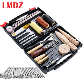 LMDZ 50 Pcs Leather Working Tools Prong Punch Edge Beveler Wax Ropes Needles for Stitching Punching Cutting Sewing Leather Craft