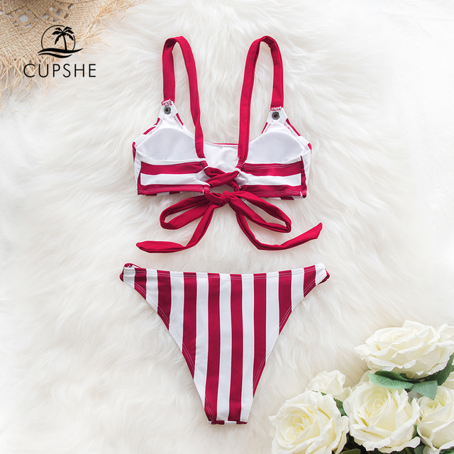CUPSHE Red and White Stripe Buttoned Bikini Sets Women Sexy Lace Up Swimsuits Two Pieces Swimwear 2020 Beach Bathing Suits 4