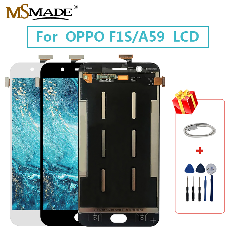 5.5 Inch For <font><b>OPPO</b></font> F1s A59 <font><b>A1601</b></font> LCD Display Touch Screen Digitizer Assembly Replacement Parts With Frame For <font><b>OPPO</b></font> F1 S LCD image