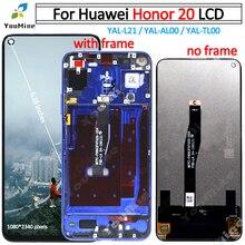 Digitalizador touch screen para honor 20, peça de substituição para honor 20, YAL L21 YAL AL00, YAL TL00 lcd
