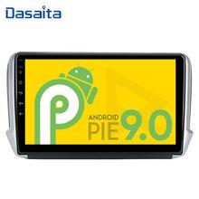 "Dasaita gps para carro, 10.2 ""player multimídia android 9.0 gps para navegador rádio automotivo 1 din navi para peugeot 208 2008 2017"