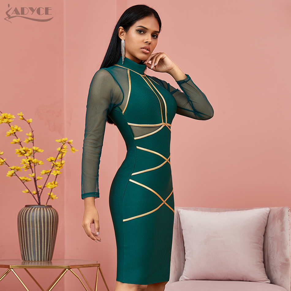 Image 3 - Adyce 2020 New Spring Long Sleeve Green Lace  Bandage Dress Women  Sexy Hollow Out Club Mini Celebrity Evening Runway Party DressDresses