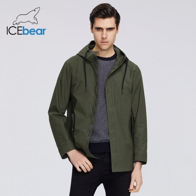 ICEbear 2020 גברים של קצר מעיל רוח אביב אופנתי תעלת מעיל עם ברדס גבוהה איכות גברים של מותג בגדים MWF20701D