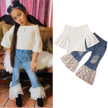 CHAMSGEN Peuter Baby Meisjes Mouw Tops Tulle Ripped Jeans Bell-bottoms Outfits Baby Kind Meisje Trompet Mouw Set 19August14(China)