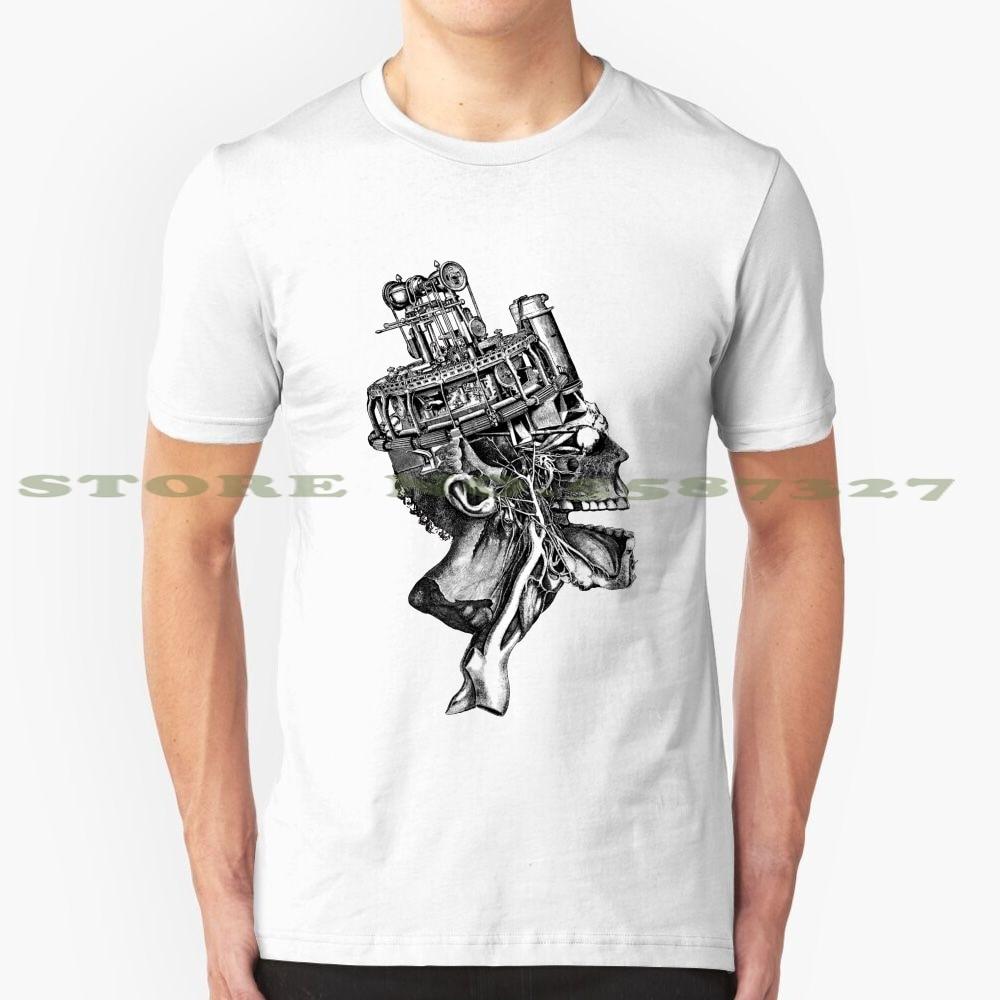 Steampunk anatomie Illustration noir blanc t-shirt pour hommes femmes Steampunk anatomie crâne mécanique vapeur puissance squelette horreur