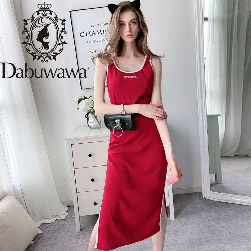 Женское Повседневное платье без рукавов Dabuwawa, повседневное длинное платье с О-образным вырезом, модель DT1BDR059