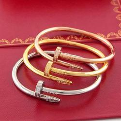 Классический Браслет из стерлингового серебра S925 пробы с гвоздиками, золотые браслеты в стиле панк для женщин, лучший подарок, роскошный юв...