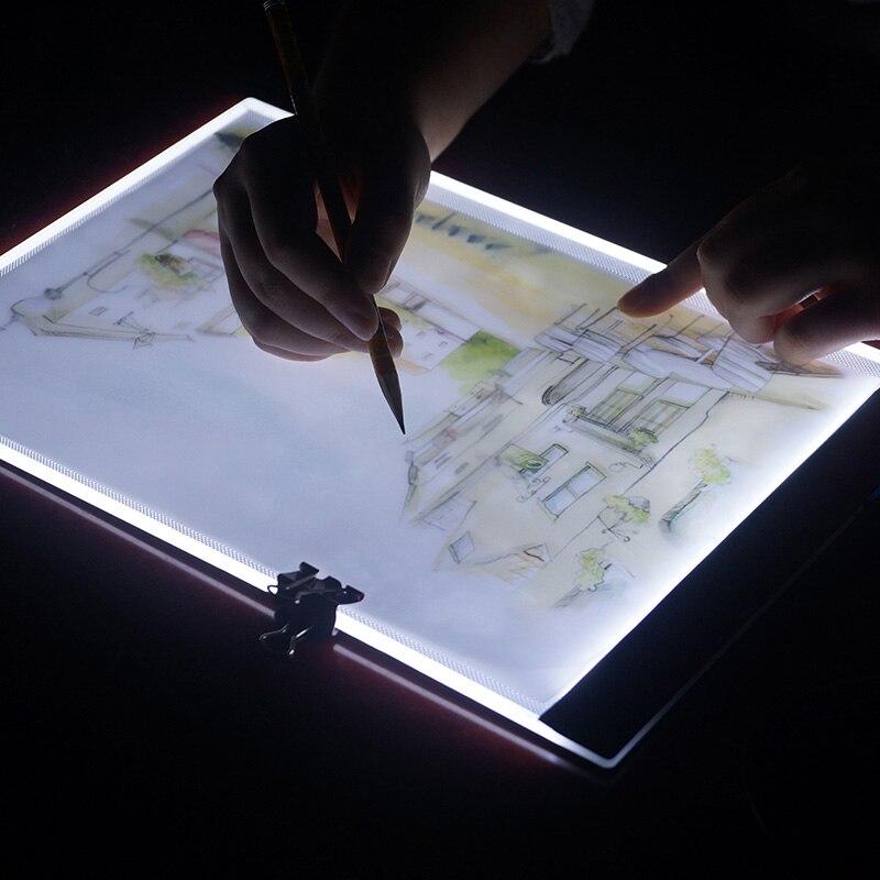 A4 USB LED Art Stencil Board Light Tracing Drawing Copy Pad Table Box K888