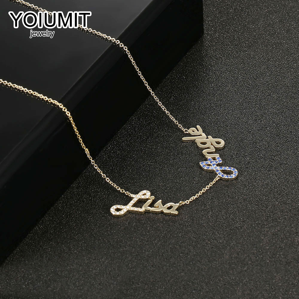 Yoiumit Personalized Custom 2 Name Necklace Initials Crystal Pendant Choker Letter Necklaces For Women Girl Charm Jewelry