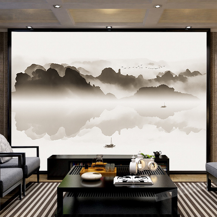 New Chinese Style Clouds Landscape Brushwork Ink Landscape Painting Wall Mural Living Room Bedroom Library Fabric Wallpaper Mura