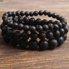 LanLi 4-16 мм натуральные ювелирные изделия из черного вулканического камня, бусины, радиационный защитный браслет для мужчин и женщин, подарки и самоиспользование