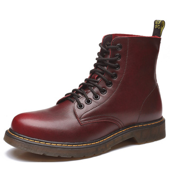 Vintage British leather Martin boots Men's Flat Leather Boots Fashion motorcycle boots