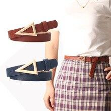 Новый дизайн моды женщин кожаный тонкий ремень металл пряжки треугольник высокое качество поясной ремень джинсы платье дикий женский пояс
