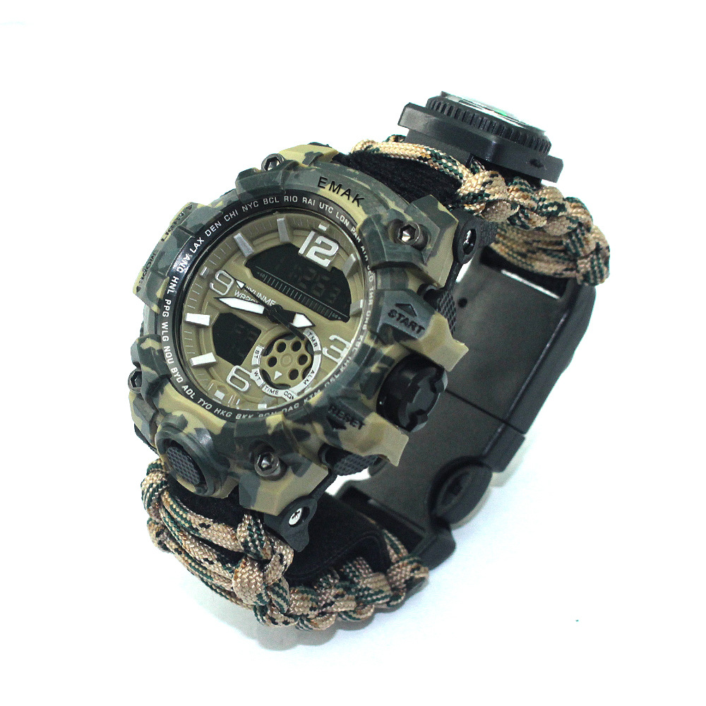 EM-178 Direct Selling Fashion Western Style Watch Multifunctional Compass Night Light Waterproof Double Inserts Camouflage Watch